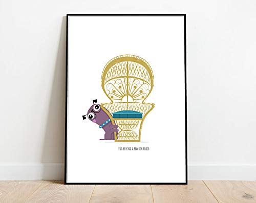 Pug Behind A Peacock Chair, Retro Midcentury 1960s Illustration Print/poster Animals Scandi - Animal Print - Animal Art - Dog Poster   Poster No Frame Board For Office Decor, Best Gift For Family And
