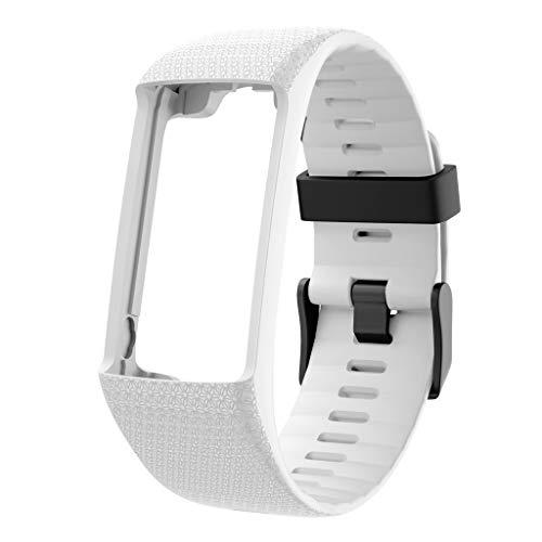 Ersatz-Armband für Polar A370 A360 Ersatzarmband, Silikon Ersatzband Ersatzarmband Uhrenarmband Replacement Wechselarmband Watch Band Fitness Tracker Sportband Uhrband (Weiß)