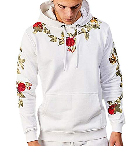 XARAZA Men's Long Sleeve Pullover Fleece Hooded Sweatshirt with Embroidery Rose (US-S, White)