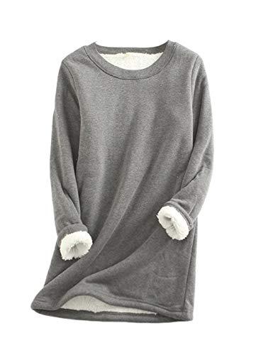 Yeokou Women Warm Sherpa Lined Fleece Crewneck Sport Sweatshirt Pullover Loungewear(Grey-XL)
