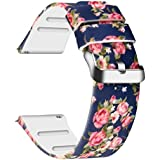 JIELIELE for 20mm Quick Release Sport Watch Bands, Soft Rubber Replacement Band Straps (Dark Blue Rose, 20mm)