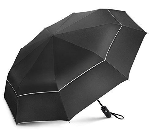 Windproof Travel Umbrella - Compact, Double Vented Folding Umbrella...