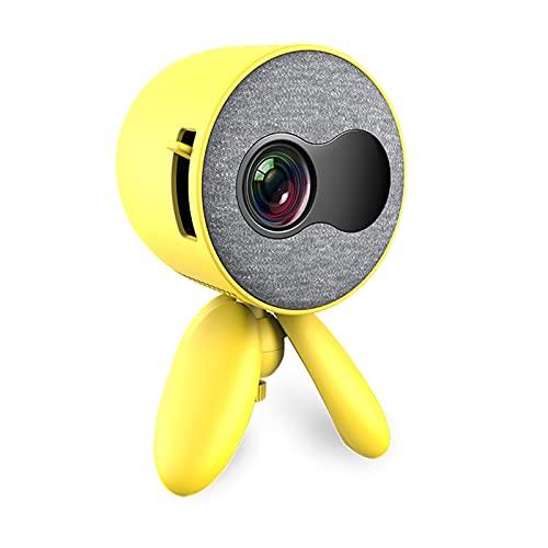 YANYANGTIAN PROYECTOR Mini Video, 80 '' & 1080P PROYECTOR DE Aire Libre, COMPATIFICADO con Fuego, PS4, HDMI, AV (Color : Yellow, Style : Universal)