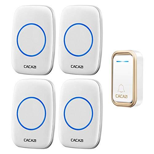 Timbre inalámbrico impermeable 300 m, mando a distancia, 1 botón, 4 receptores, LED, timbre de puerta inteligente para interior y exterior, timbre de puerta de 220 V China_1 botón, 4 receptores