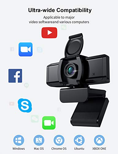 Wansview Webcam, 1080P Webcam mit Mikrofon, USB Kamera für Desktop, Laptop, kompatibel mit Windows, Mac, für Videoanruf, Konferenz, Online-Unterricht, Spiel