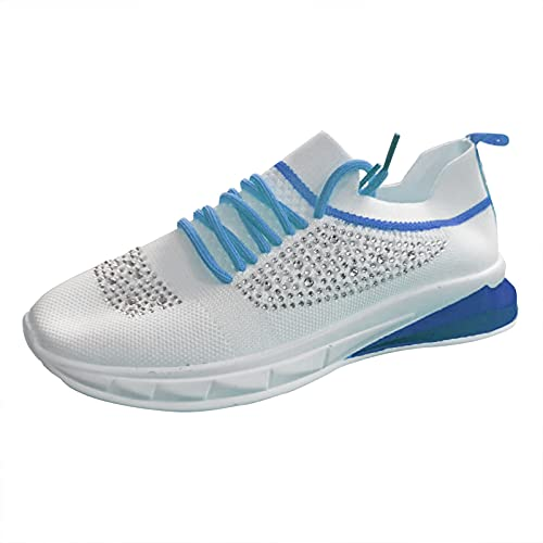 YANFANG Zapatos Informales Transpirables, Malla de Diamantes de imitación Impermeable, tacón de cuña para Mujer, Zapatillas de Deporte para Mujer, cómodas Zapatillas para Mujer,41,Azul