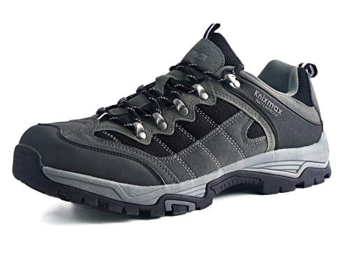 Knixmax-Zapatillas de Montaña para Hombre, Zapatos de Senderismo Calzado de Trekking Escalada Aire Libre Zapatos Low-Top Impermeable Antideslizante Zapatos de Trekking EU42 (UK08) Grey