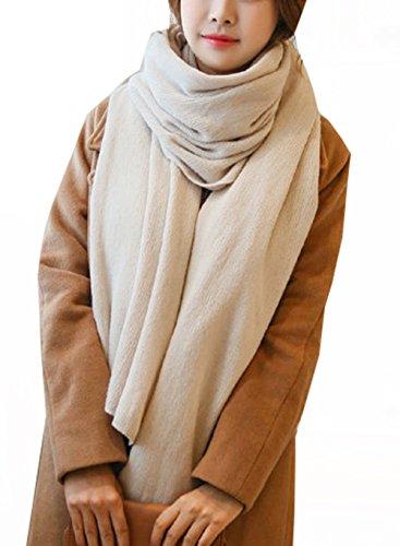 Wander Agio Womens Warm Long Shawl Winter Blanket Large Scarf Pure Color Beige