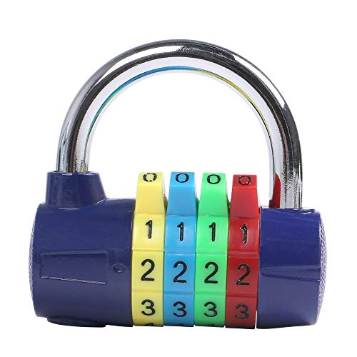 EONO 4-Digit Combination Padlock, Luggage Lock, Resettable Code Lock, Ideal for Suitcase, Lockers, Portable