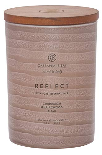 Chesapeake Bay Candle Mind & Body Serenity Scented Candle, Reflect with Pure Essential Oils (Cardamom, Guaiacwood, Elemi), Medium