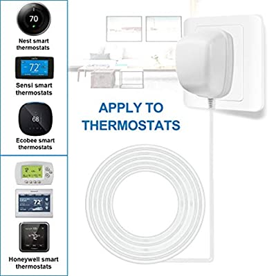 24 Volt Power Adapter/Transformer?C-Wire Adapter Thermostat?Compatible with Honeywell,Nest,Ecobee,and Sensi Smart WiFi Thermostat Pro(25Foot /7.6M Cable)