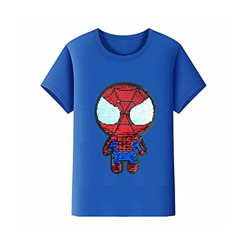 Camiseta Niño Traje Media Manga Spiderman Reversible Lentejuelas Camiseta Ropa Ropa Infantil Superhéroe Niño Manga Corta Avenger Manga Fría Jersey,Blue-S Kids(100~110CM)