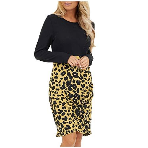 TEELONG Vestido de manga larga para mujer, cuello redondo, dobladillo fruncido, estampado de leopardo, vestido de lápiz, formal, ajustado B-amarillo L