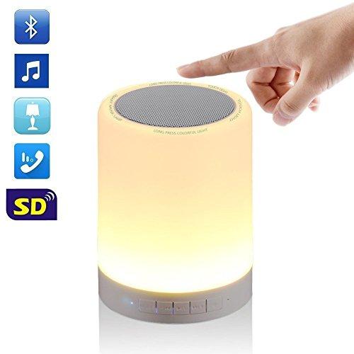 waylee altavoces bluetooth inalámbrico, Portátil, multifunción con Bluetooth Smart Touch Lámpara de noche a LED, música Player/manos libres, altavoz Bluetooth, apoya tarjeta TF/AUX