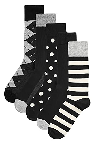 Happy Socks HS by Argyle 5-Pack Socks Calzini, Black, 4-11 (Taglia Produttore: 41-46) Uomo