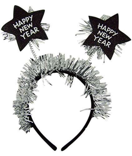 Happy New Year Headband with Star Boppers and Silver Tone Tinsel, 10 Inch