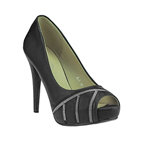Fashion4Young 20040 Damenschuhe Peeptoes Pumps Plateau High Heels Party Stilettos (EUR 36, schwarz)