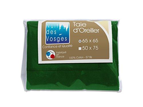 Nuit des Vosges 2107128 Cotoval Taie d'Oreiller Uni Coton Vert Anglais 65 x 65 cm