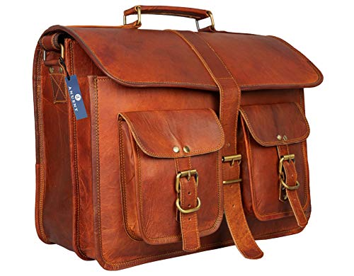 ANUENT leather bags Vintage Soft Leather Messenger Brown Real Laptop Satchel Bag Genuine Briefcase