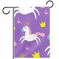 ガーデンヤードフラッグ両面 /12x18in/ ポリエステルウェルカムハウス旗バナー,プリンセスユニコーン
