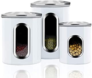 Canisters Sets,3 Piece Window Kitchen Canister with Fingerprint Resistance Lids,Cream White