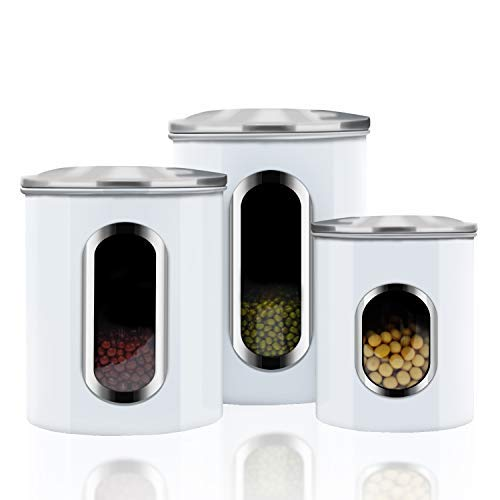 Canisters Sets,3 Piece Window Kitchen Canister with Fingerprint Resistance Lids
