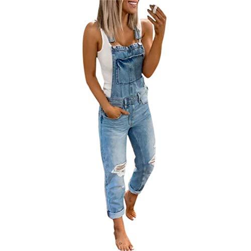 ORANDESIGNE Jeanslatzhose Damen Latzhose Jeans Lange Hose Denim Overall Jumpsuit Playsuit Jeans Vintage Loose Fit Hoseanzug Romper D Blau Medium