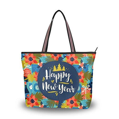 NaiiaN Umhängetaschen Handtaschen Geldbörse Einkaufen Frohe Weihnachten Blumengeschenk Bunt für Frauen Mädchen Damen Student Leichter Riemen Einkaufstasche