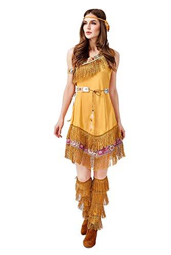 Huiyemy Indianerin Kostüm Damen Indianer-Kostüm Wilder sexy Squaw Faschings-Kostüm M