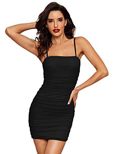 SOLY HUX Vestido corto sin mangas para mujer, de verano, sexy, para cóctel, vestido de fiesta, para cóctel, estilo informal, A-negro., S