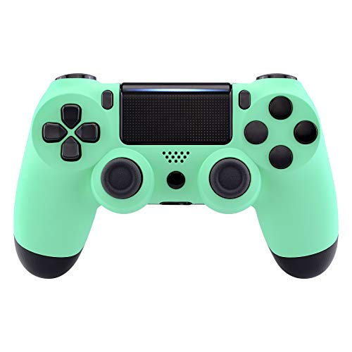 eXtremeRate Mint Green Faceplate Cover, Soft Touch Front Housing Shell Case for Playstation 4 PS4 Slim PS4 Pro Controller (CUH-ZCT2 JDM-040/050/055) - Controller NOT Included