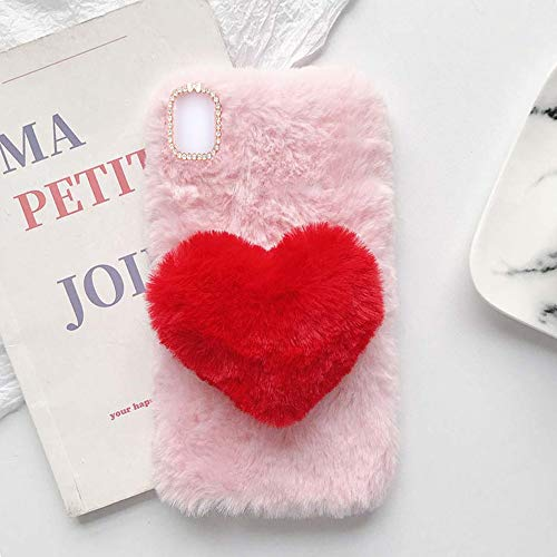 YHY Linda Funda Teléfono con Forma Corazón Felpa para Samsung Galaxy S21 FE Funda Teléfono Romántica Creativa Moda Rosado