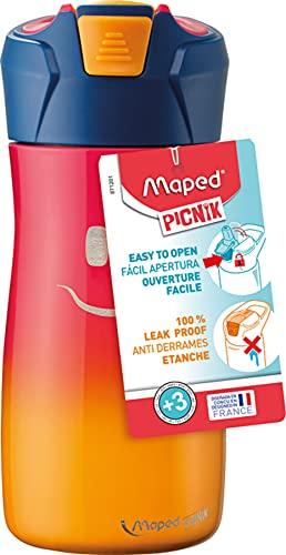 Maped 871201 Picnik Concept Kids - Borraccia per bambini con cannuccia - Apertura automatica con pulsante - Facile da pulire - Corpo in acciaio inossidabile - Arancione - 430 ml 871203