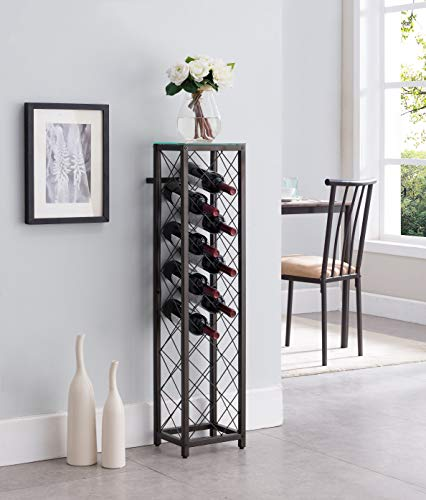 Kings Brand Furniture – Metal with Glass Top Shelf Free Standing Wine Rack Storage Tower, Pewter