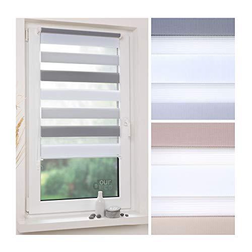 ourdeco® Doppel-Rollo, Duo-Rollo / 70 x 150 cm dreifarbig/grau, hellgrau, weiß/lichtdurchlässig, Blickdicht/Klemmen=Montage ohne Bohren=Smartfix=Klemmfix=Easy-to-fix