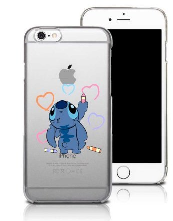 coquefone Funda para iPhone 6 / 6s; Stitch, personajillo azul que dibuja corazones; diseño de coquefone