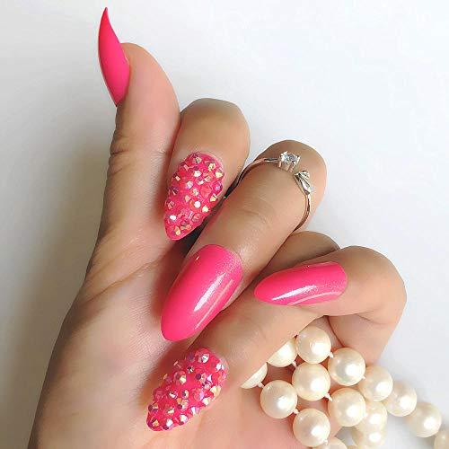 CSCH Faux ongles Rose rouge personnalisé tous les strass paillettes fine pression à talons hauts faux ongles noir vert artificiel faux ongles décoration