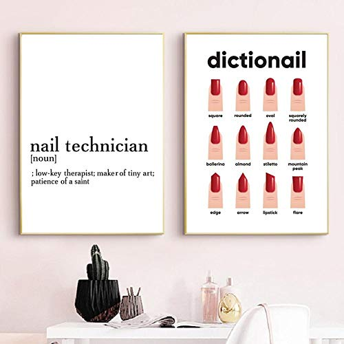 Nail Polish Pictures for Wall Gift for Her Nail Shapes Makeup Poster Nail Technician Definition Beauty Salon Decor Fashion Canvas Painting Make Up Wall Pictures Girl Room Decoration 40X60CMx2 Unframed