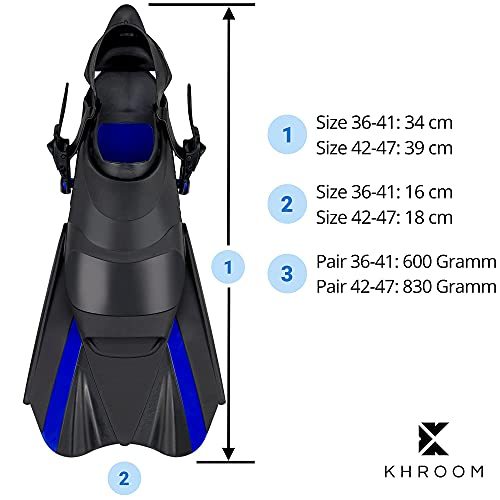 Khroom Adjustable Snorkelling Fins Short with Pocket for Hanging [New Access] Size 34-47 Short Fins for Swimming for Adults Women and Men Diving Fins (36-41)