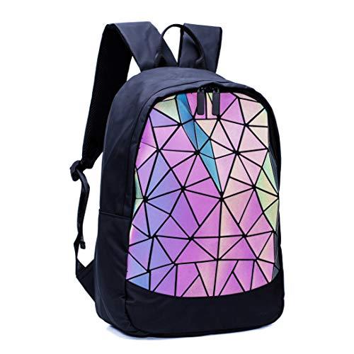 Geometrischer Rucksack Geometrisch Holographic Taschen Damen Leuchtend Rucksäcke Reflektierend Festival Tasche Leuchtend 01