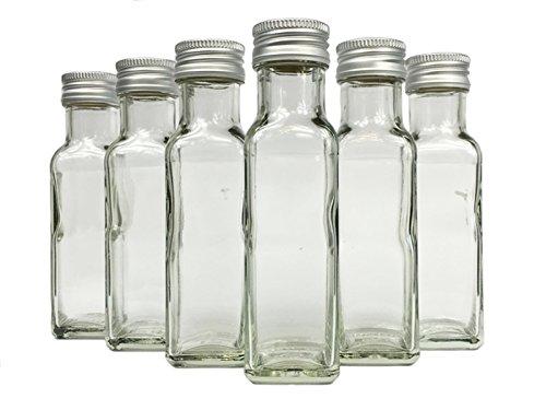 Glasflaschen Set mit Schraubverschluss Silber | 50 teilig | Füllmenge 100 ml | Maras Saftflaschen Spirituosen Likörflaschen Setzen Sie ganz einfach Ihr eigenes Öl an
