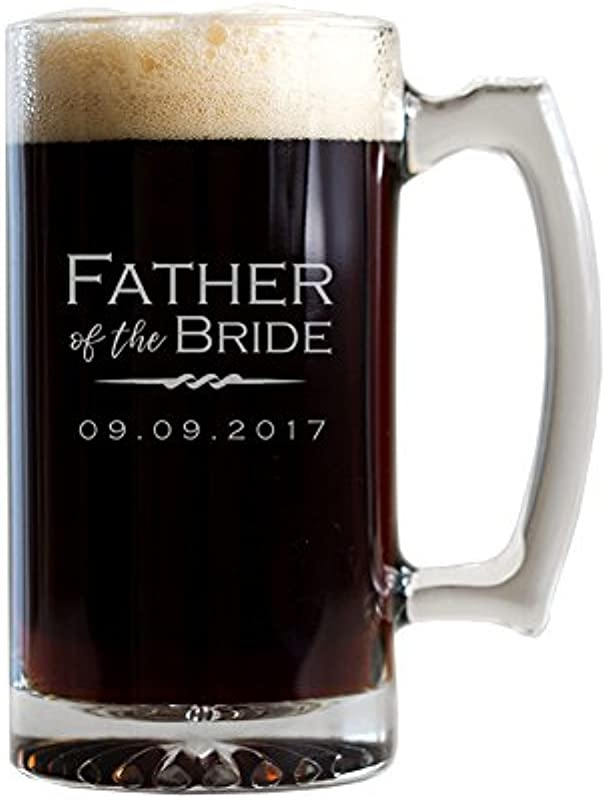Engraved Personalized Father Of The Bride Beer Mug 25 Oz Large Glass Beer Mug Personalized Father Of The Bride Gift