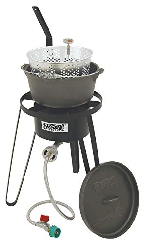Bayou Classic B159, Outdoor Fish Cooker with Cast Iron Fry Pot