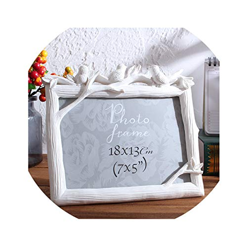 Retro Resin Bird Photo Frame Creative Vintage Birds Tree Picture Wedding Bedroom Desktop Decor Ornaments Gift Rectangle Frame,White Horizontal,8inch