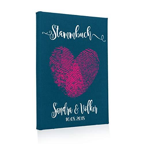 Hochzeitideal Stammbuch der Familie, Familienstammbuch aus Buchbinderleinen, Nr. 44 A inkl. Personalisierung (Türkis)
