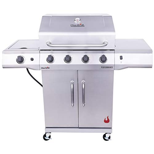 Char-Broil 4-Burner Cabinet Style Liquid Propane Gas Grill, Stainless Steel
