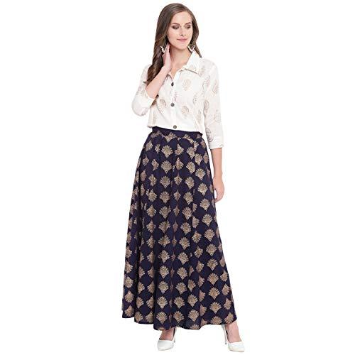 Stylum Women's Gold Printed Rayon Short Shirt & Skirt Set (Off White::Blue,L)