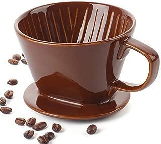 DOWAN Ceramic Coffee Dripper, Reusable Pour Over Coffee Dripper, Brown