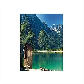 Decorative Privacy Window Film/Predil Alpine Lake North Italy Slovenian Border Julian Alps Idyllic Scenery Decorative/No-Glue Self Static Cling for Home Bedroom Bathroom Kitchen Office Decor Sea Green