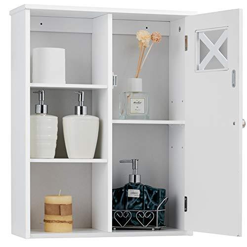 GOPLUS Hängeschrank Wandschrank Badschrank Badezimmer Schrank Badezimmerschrank hängend Badhängeschrank mit Tür und Einlegeboden, weiß 61 x 48,5 x 17,5 cm